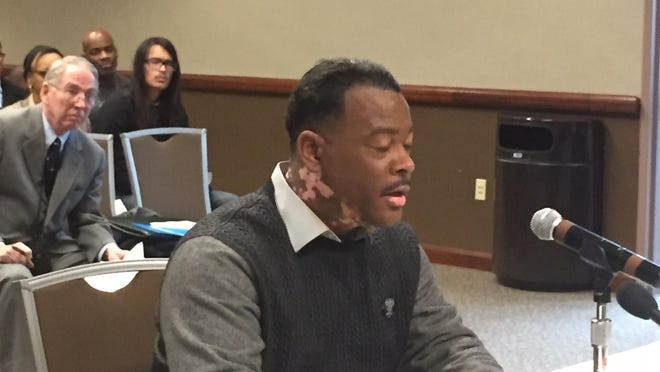Quincy Murphy of Flint. shown here before the Board of State Canvassers Thursday, wants to recall Gov. Rick Snyder