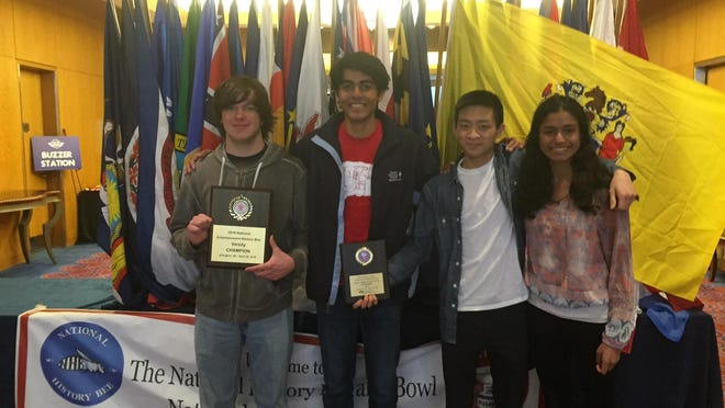Mountain Lakes High School History Bowl team members from Left to right are Ron Mucci, Daud Shad, Dylan Liang, Anita Shanker