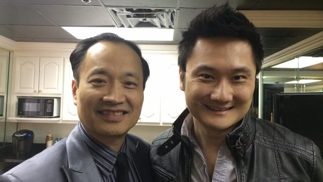 """Dr. Ming Wang, left, and actor Paul Kwo, who plays the character inspired by Wang in the movie """"God's Not Dead."""""""