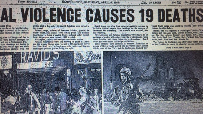 The violence in more than 100 cities throughout the country following the assassination of The Rev. Martin Luther King Jr. was chronicled in front-page articles in The Canton Repository.