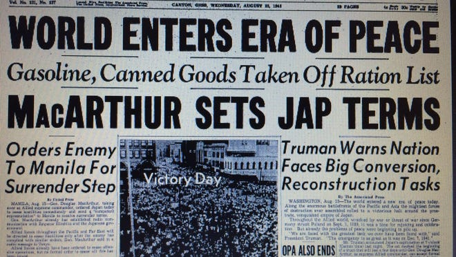 On Aug. 15, 1945, The Canton Repository front page reported that WWII had ended with theJapanese agreeing to surrender. Gen. Douglas MacArthur was dictating surrender terms to theJapanese. A formal surrender would take place early in September 1945 aboard the USS Missouri inTokyo Bay.