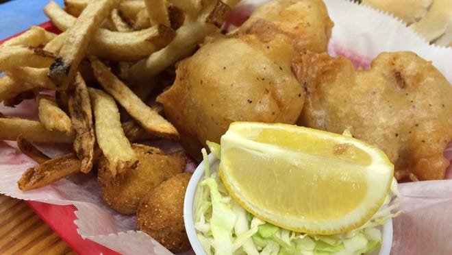 Hand-battered cod fillets and hand-cut fries make up the fish and chips basket at Bayside Grille.