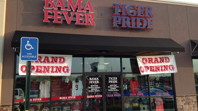 Bama Fever Tiger Pride, located in the Cobbs Ford Village Shopping Center, offers University of Alabama and Auburn University gear.
