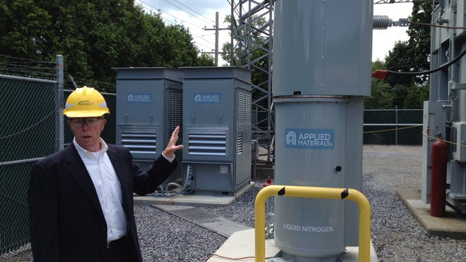 Scott Nickerson of Applied Materials with the new superconducting fault current limiter in the Town of Poughkeepsie.