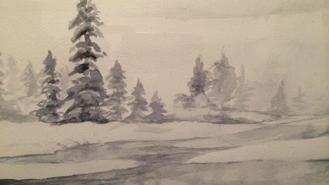 Artist Jean Moule will auction this painting of a winter landscape at her exhibit's closing reception from 4 to 6 p.m. Dec. 10 at Crush Wine Bar and Tasting Room, 105 Main St., Monmouth. She will donate the proceeds to Pencils of Promise.
