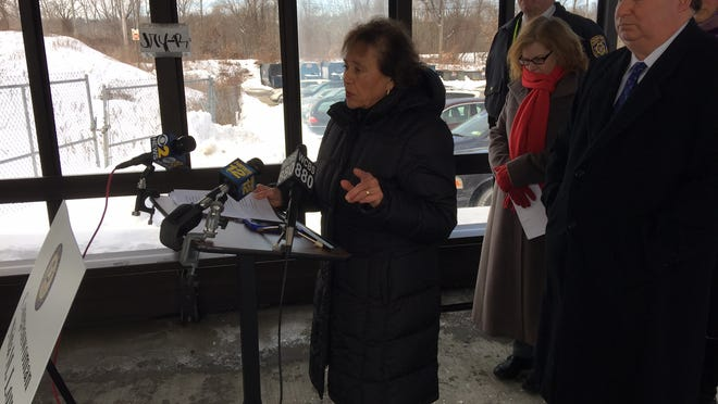 U.S. Rep. Nita Lowey, D-Harrison, speaks Monday about the looming partial shutdown of the Department of Homeland Security and its impact on the region. Lowey held a press conference with Rockland officials, including Clarkstown Supervisor Alex Gromack, right, near the Palisades Center in West Nyack.