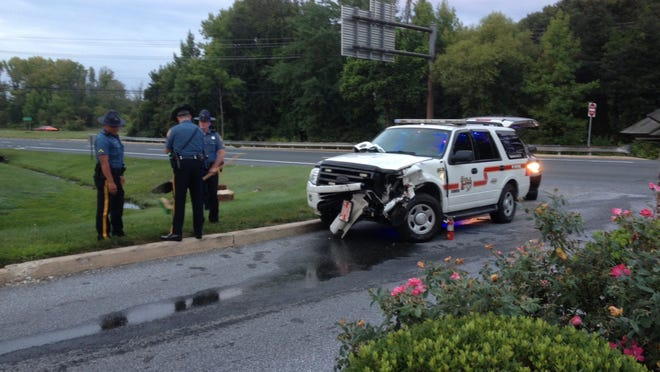 Fire company SUV was involved in crash on Del. 141 at Creekwood Road.