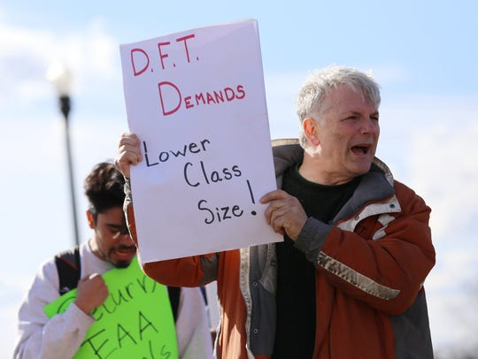 Protesters were led by Detroit Federation of Teachers