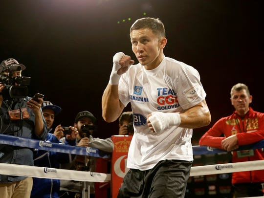 Boxer Gennady Golovkin works out in front of the media in New York, Tuesday, Oct. 13, 2015. Golovkin will fight David Lemieux in New York on Oct. 17, at Madison Square Garden.