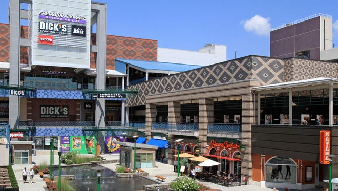 A view of the water fountain and some of the shops at Westchester's Ridge Hill in Yonkers.