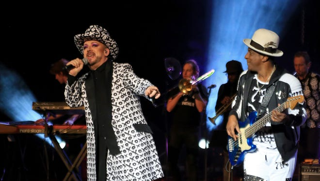 Boy George and Mikey Craig of Culture Club perform Saturday night at Tuacahn Amphitheatre in Ivins City.