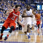 Nov 30, 2015; Lexington, KY, USA; Kentucky Wildcats guard Dominique Hawkins (25) dribbles the ball against Illinois State Redbirds guard Justin McCloud (15) in the first half at Rupp Arena.