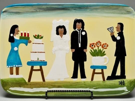 """The Wedding""  is one of Doug Gitter's serving pieces."