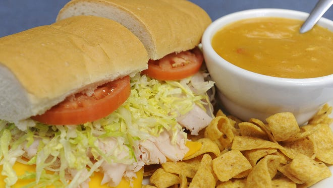 Turkey and cheese sub with a cup of chicken tortilla soup at Gregg's Sub Station in Sioux Falls.