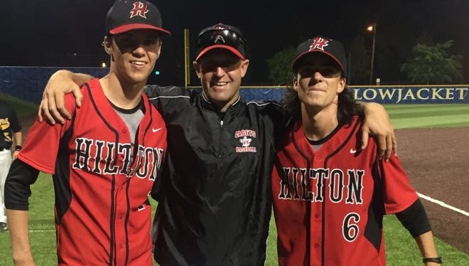 From left to right, Austin Metzger, Hilton coach Jeff Murphy and Alex Hendry, who went missing and was found dead in Syracuse early Monday morning. Metzger and Hendry were a shortstop/second baseman combination for much of their baseball careers.