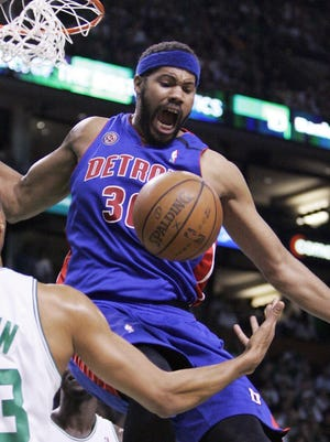 Rasheed Wallace dunks in 2008, the third straight year the Pistons fell in the Conference finals.