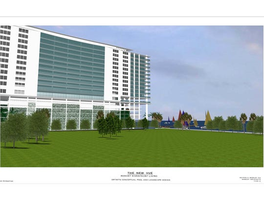 A concept plan of the new Vue to be presented at Wednesday's planning meeting shows the backside of the condos facing Centennial Park. Not shown, a 7,000 sqf sunset viewing pavilion is reportedly being proposed in exchange for privatizing the dock and its waterfront.