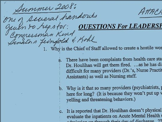 Tomah VA union president Lin Ellinghuysen made notes on a memo about problems at the facility.