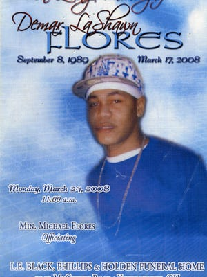The cover of the program for the funeral of Taya Flores' brother, Demar LaShawn Flores.