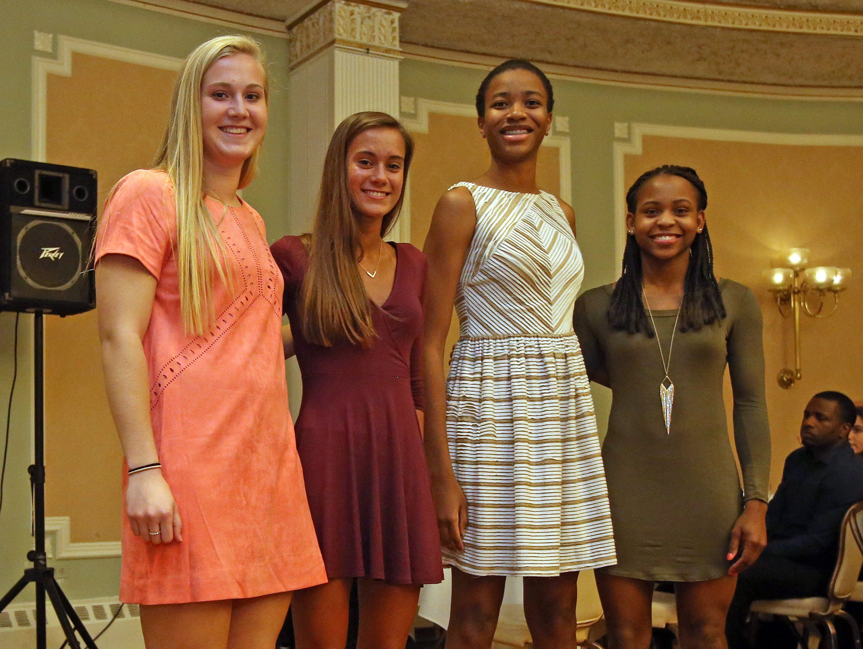 From left, Lauren Gallagher, Dani LaRochelle, Pamela Miceus, and Gabby Cajou were named The Journal News girls basketball first team all-stars during Section 1 Coaches Association girls basketball dinner at Colonial Terrace in Courtlandt Manor on March 29, 2016.