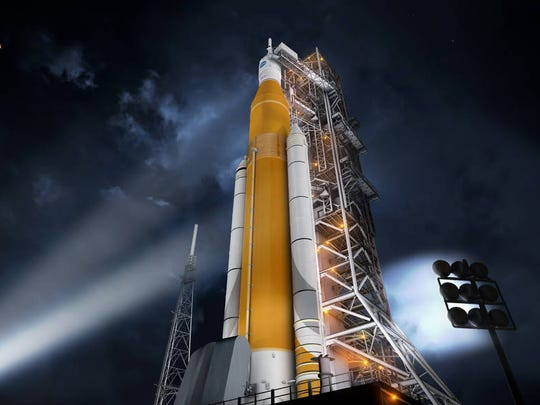 Artist rendering of NASA's Space Launch System rocket