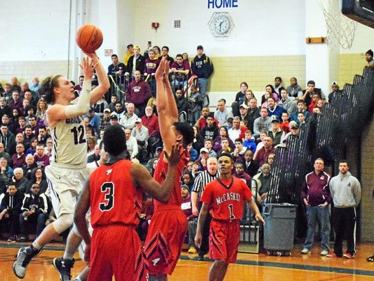 During the 1st quarter Abingtonâ  s Matthew Penecale goes up for two on Saturday.