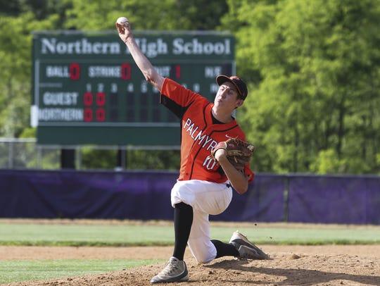 Palmyra's Isaac Blatt pitches during the third inning