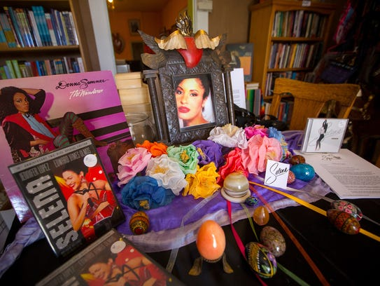 A shrine to the late singer Selena is set up at the