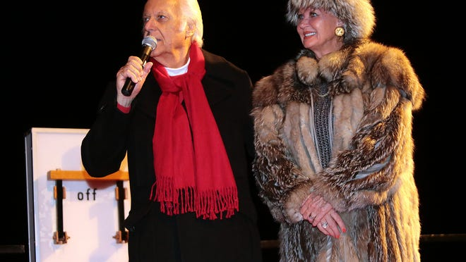 Singer Jack Jones and wife Eleonora were the special guests at the annual Christmas tree lighting ceremony Sunday, Dec. 7, 2014, at the Palm Springs Aerial Tramway.