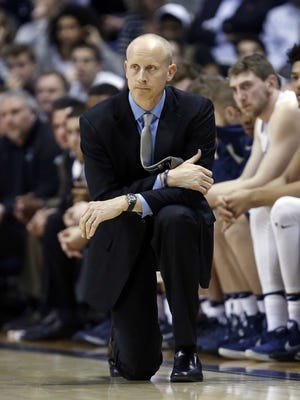 Xavier Musketeers head coach Chris Mack watches during the first half against the Marquette Golden Eagles at the Cintas Center.