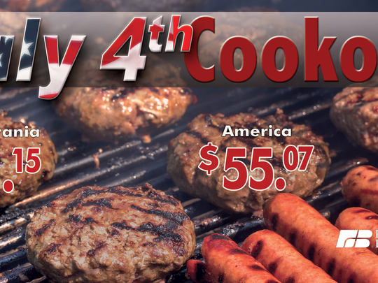 Burgers, hot dogs and pork ribs on the grill is less expensive in Pennsylvania this Fourth of July, according to the Pennsylvania Farm Bureau.