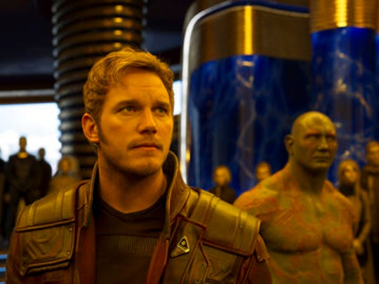 "This image released by Disney-Marvel shows Chris Pratt, left, and Dave Bautista in a scene from, ""Guardians Of The Galaxy Vol. 2."""