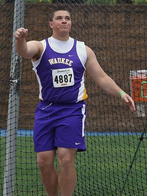 Ross Reynolds, of Waukee, competes in the Drake Relays in April. He is an Iowa football recruit.