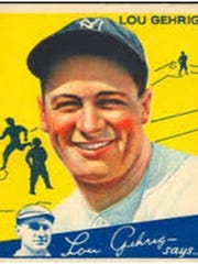 """Burlington police released this photograph of a """"similar"""" baseball card of Lou Gherig that was reported stolen from a North Prospect Street home last week."""