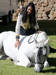Katharina Gasser and her horse Mozart are part of the Gala of the Royal Horses show at the Don Haskins Center Wednesday.