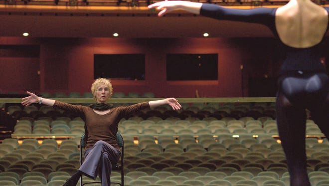 """Cincinnati Ballet artistic director and CEO Victoria Morgan leads a rehearsal of """"Frisch's Presents The Nutcracker"""" at the Aronoff Center in 2008."""