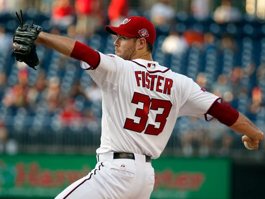 Washington Nationals starting pitcher Doug Fister throws against the Arizona Diamondbacks on Aug. 3, 2015, in Washington.
