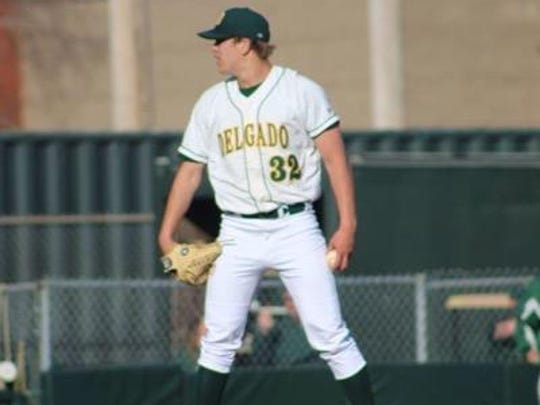 Delgado Community College pitcher Andrew Mitchell