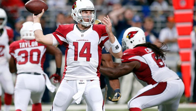 Arizona Cardinals quarterback Ryan Lindley (14) throws a pass during the second half of a football game against the St. Louis Rams at the Edward Jones Dome in St. Louis on Dec. 11. The Cardinals defeated the Rams 12-6.