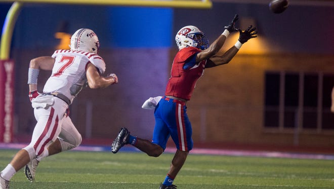 Gregory-Portland's Jalen Brooks catches a pass for a touchdown during their game on Friday Nov. 3, 2017, at Ray Akins Wildcat Stadium.