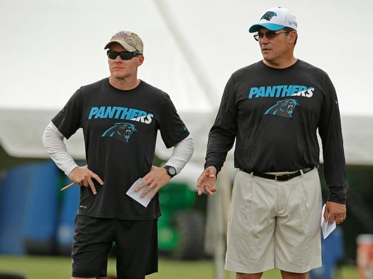 Carolina Panthers head coach Ron Rivera, right, and defensive coordinator Sean McDermott, at training camp in 2015. The two men worked for Andy Reid in Philadelphia and built an NFC championship team in Carolina.