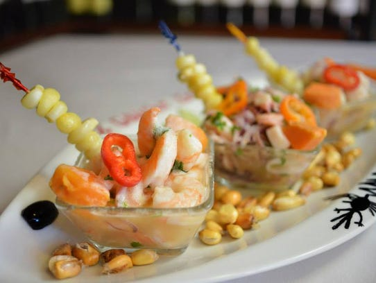 A trio of ceviches from El Gaucho Inca.