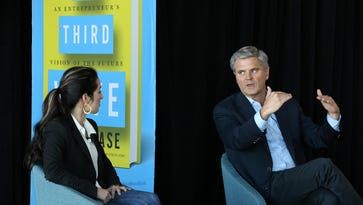 A crowd listened to Steve Case, co-founder of AOL, as he discussed the future of startups and business innovation as a guest of GLI at the PNC Club at Papa John's Cardinal Stadium.