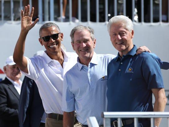Former U.S. Presidents  (from Left) Barack Obama and