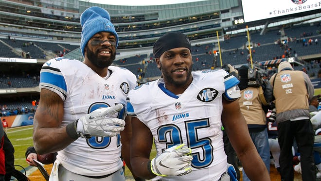 Detroit Lions running back Joique Bell, right, poses for a photo at Soldier Field.