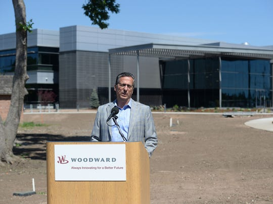 Woodward CEO and President Tom Gendron speaks during a ribbon cutting ceremony for the new Woodward campus on South Lemay Avenue on Tuesday, June 7, 2016.