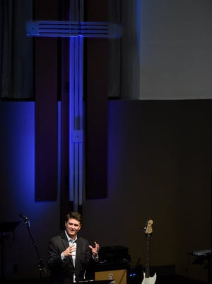 MIKE LAWRENCE / COURIER & PRESS Jeff Kinkade, lead pastor at City Church, speaks at at City Church on Feb. 21, 2016.