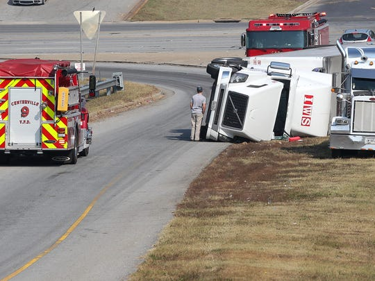 A tractor-trailer overturned Tuesday at about 11 a.m.