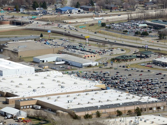 Businesses including Festival Foods, top left, Walmart and Sam's Club, center, at the northwest corner of Interstate 41 and West Mason Street, are located on Oneida Tribe of Indians reservation land within the city of Green Bay.