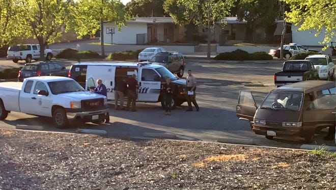 This was the scene Tuesday afternoon in a Thousand Oaks church parking lot where an apparent body was found in a vehicle.
